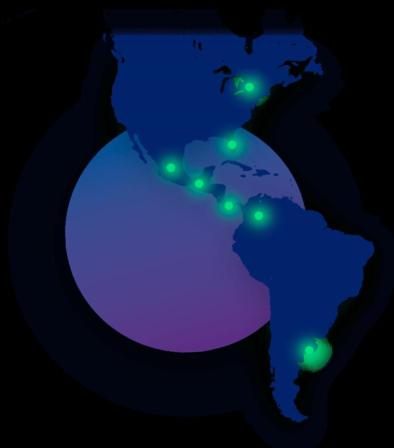 Mapa azul de América con nuestras oficinas marcadas en verde
